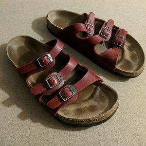 Birkenstock Florida Red Leatger Sandals 38